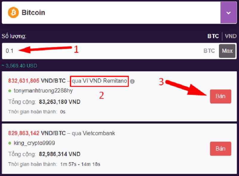 Cách bán Bitcoin trên Remitano bước 2
